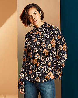 Black Floral Blouse With Shirring Neck