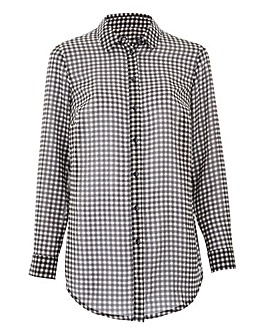 Black Gingham Tie Cuff Printed Shirt