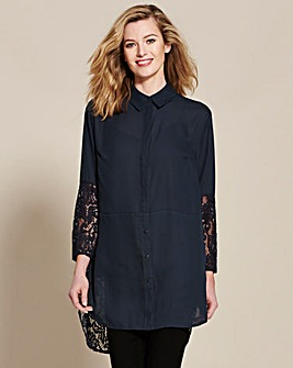 Slate Longline Lace Shirt