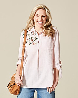 Tie Sleeve Embroidered Shirt