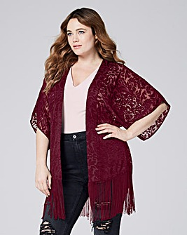Berry Burnout Tassel Kimono