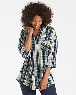 Blue Check Oversized V Neck Shirt