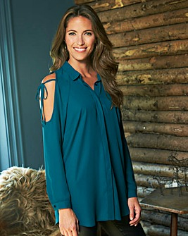 Mid Teal Bow Tie Cold Shoulder Top
