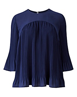 Dark Ink Pleated Blouse