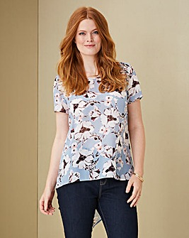 Blue Print Dip Back Shell Top