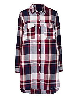 Berry/Navy Oversized Check Shirt