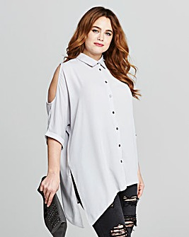 Grey Cold Shoulder Blouse