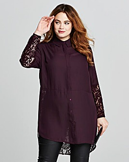 Black Cherry Longline Lace Shirt