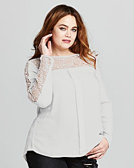Ivory Long Sleeved Crochet Top