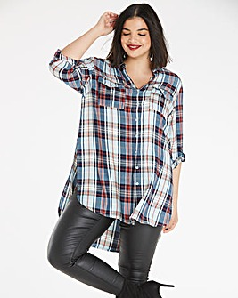 Blue Check Oversized Shirt