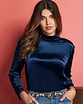 Midnight Blue Velvet Cut Out Back Top