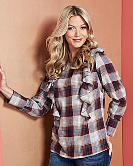 Grey Check Frill Front Blouse
