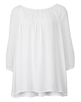 White Cold Shoulder Gypsy Top