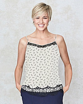 Ivory/Black Lace Trim Cami