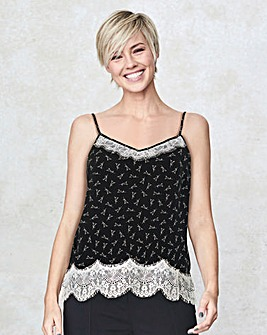 Black/Ivory Lace Trim Cami