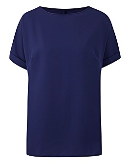 Navy Boxy Top With Turn Back Sleeves