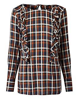 Khaki Check Frill Front Blouse