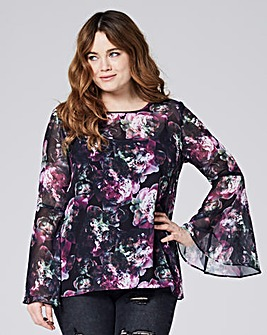 Multi Dark Ink Sheer Bell Sleeve Top