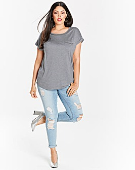 Grey Marl Embellished T-shirt