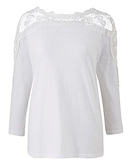 White Crochet Sleeve Jersey Top