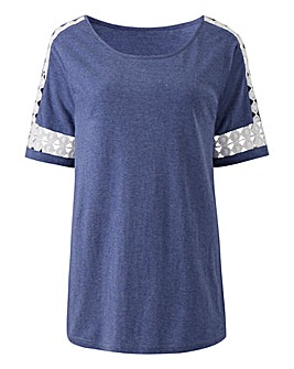 Denim Marl Broderie Trim Jersey Top