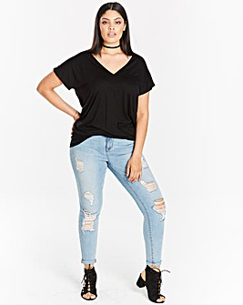 Black V neck Twist Top