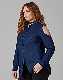 Indigo Cold Shoulder Denim Shirt