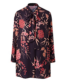 Black Floral Pussy Bow Tunic