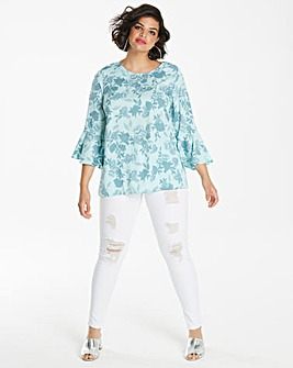Blue Print 3/4 Fluted Sleeve Blouse