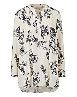 Cream Floral Pleat Front Blouse