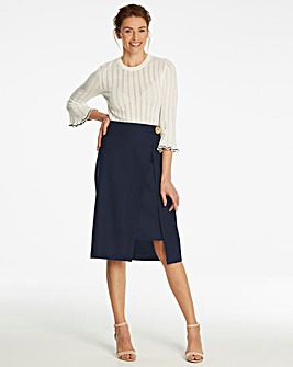 Linen Rich Wrap Pencil Skirt