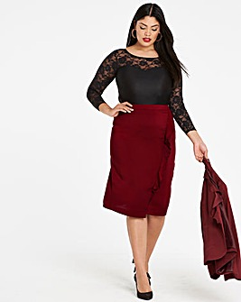 Frill Seam Crepe Pencil Skirt