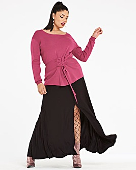 Ruched Waist Split Front Maxi Skirt