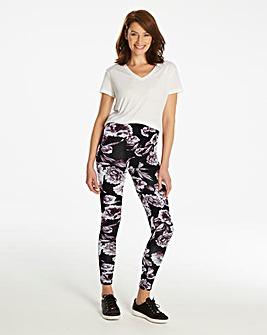 Floral Print Stretch Jersey Leggings