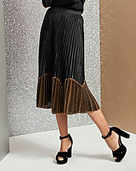 Sunray Pleat Colour Block Midi Skirt