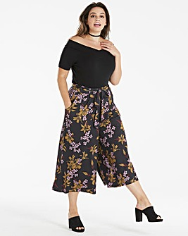 Floral Print Tie Waist Jersey Culottes