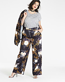 Floral Print Satin Wide Leg Trousers Reg