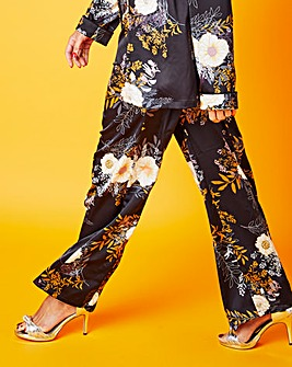 Floral Print Satin Wide Leg Trousers Reg