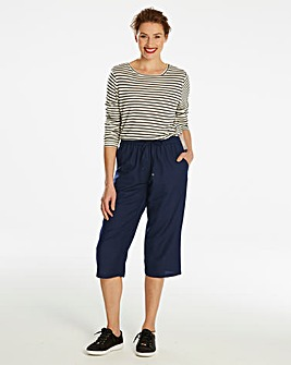 Essential Linen Mix Crop Trousers