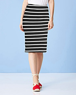 Striped Jersey Midi Tube Skirt