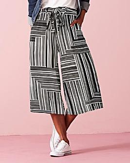 Stripe Tie Waist Stretch Jersey Culottes