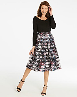 Stripe Printed Prom Skirt
