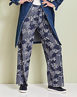 Print Wide Leg Tie Waist Jersey Trs Reg