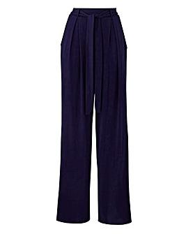 Petite Wide Leg Tie Waist Jersey Trs