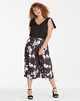 Wide Leg Floral Print Culottes