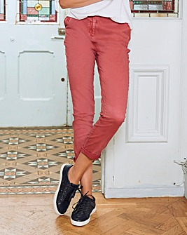 Laundered Turn Up Stretch Chino Trousers