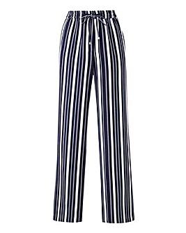 Petite Stripe Linen Mix Straight Leg Trs