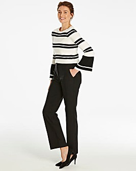 Side Split Hem Straight Trousers Long
