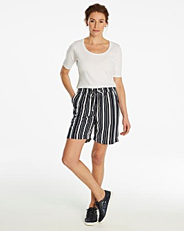 Petite Essential Stripe Linen Mix Short