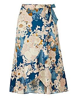 Floral Print Frill Trim Midi Skirt